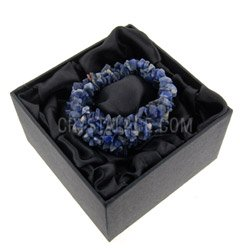 Gemstone Jewellery Sodalite chip cuff bracelet gift box