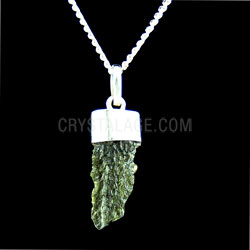Moldavite Crystal Rough Thin Point (10mm) pendant