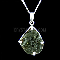 Moldavite Crystal Straight Claw Silver Setting 24mm pendant
