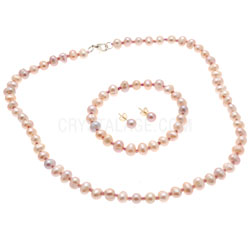Crystal Earrings Jewellery Gift Box Set Pink Pearl