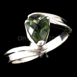 Moldavite Crystal Faceted Teardrop in Styled Silver Ring