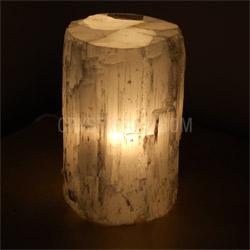 Selenite Lamp Log Polished Finish
