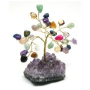 Mixed Crystal and Amethyst Gem Chip Tree