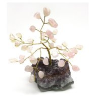 Rose Quartz and Amethyst Gem Chip Tree