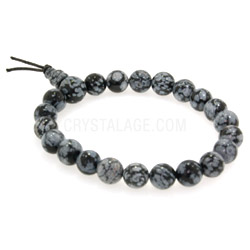 Snowflake Obsidian Power Bead Bracelet