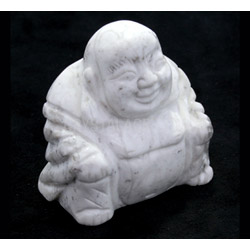 Howlite Carved Sitting Buddha Statue