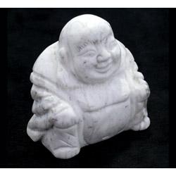 Howlite Carved Sitting Buddha Statue