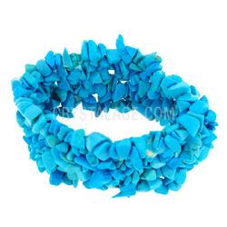 Blue Howlite Crystal Gemstone Cuff Bracelet