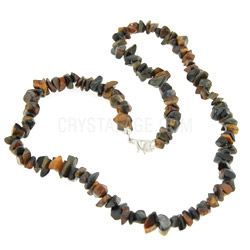 Blue Tiger Eye Gemstone Chip Necklace With Clasp