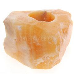 Natural Orange Calcite Crystal Tea Light Holder