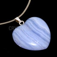 Blue Lace Agate Heart Pendant