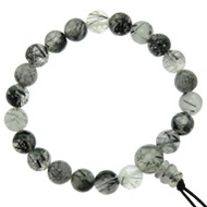 Tourmalinated Quartz Power Bead Bracelet