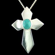 Turquoise Crystal Cross Pendant