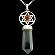 Carnelian and Quartz Point Pendant