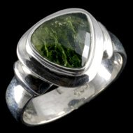 Heavy Moldavite Crystal Ring