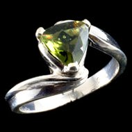 Moldavite Crystal Ring
