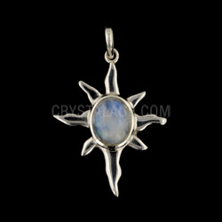 Sunburst Silver And Moonstone Pendant