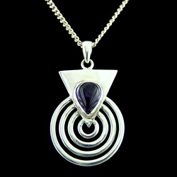 Amethyst & Silver Spiral Pendant
