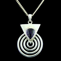 Amethyst & Silver Spiral Pendant