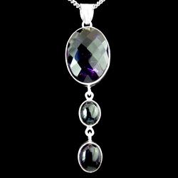 Silver & Amethyst Oval Drop Pendant