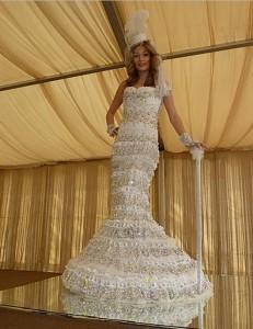 Most Crystals on a Wedding Dress