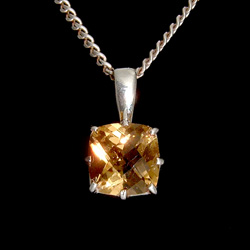 Faceted Citrine & Silver Pendant