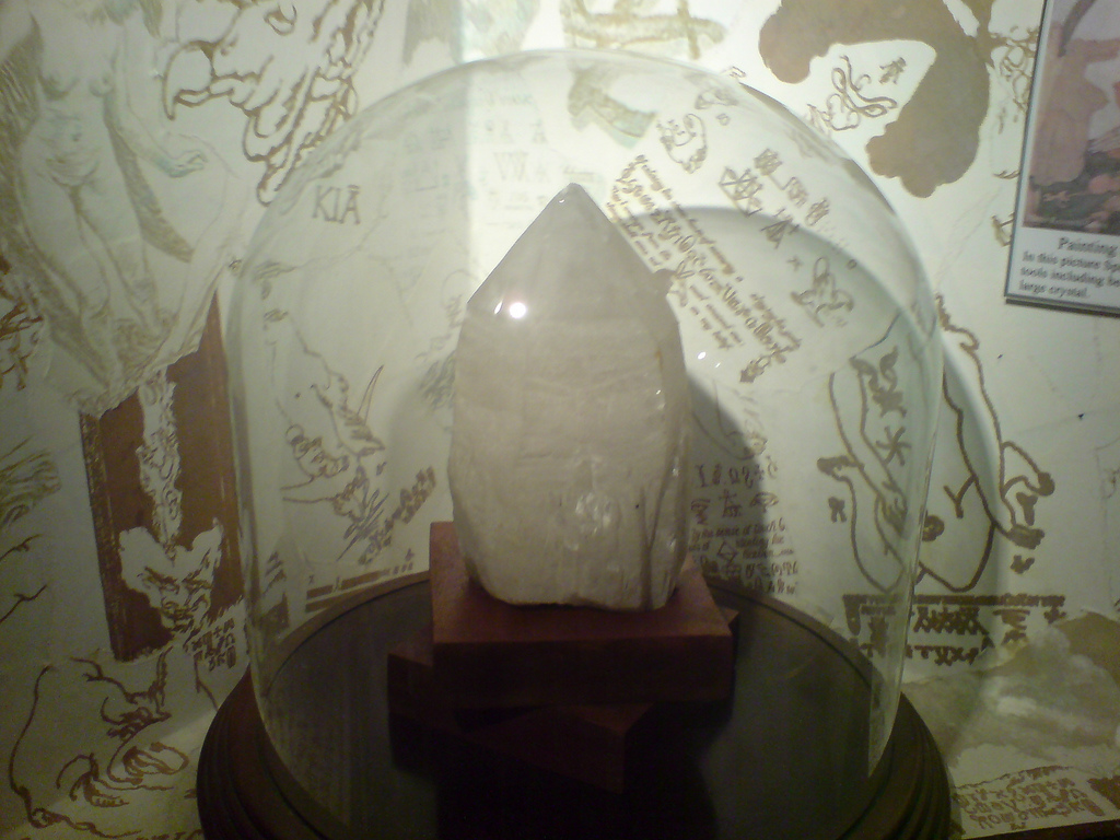 A scrying crystal on display at The Museum of Witchcraft located in Boscastle, Cornwall